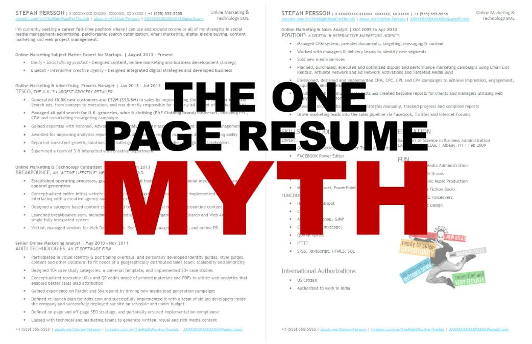 The one page resume myth updated stefan persson pulse linkedin why you shouldnt cram everything into one page yelopaper Gallery