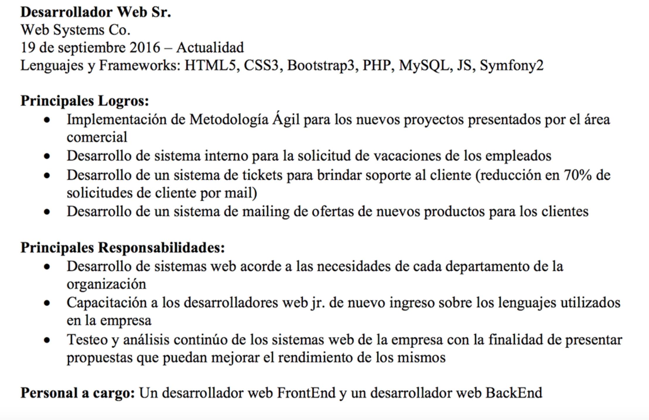 Currículum Vitae de un Programador WEB | BloomIT Digital Academy ...