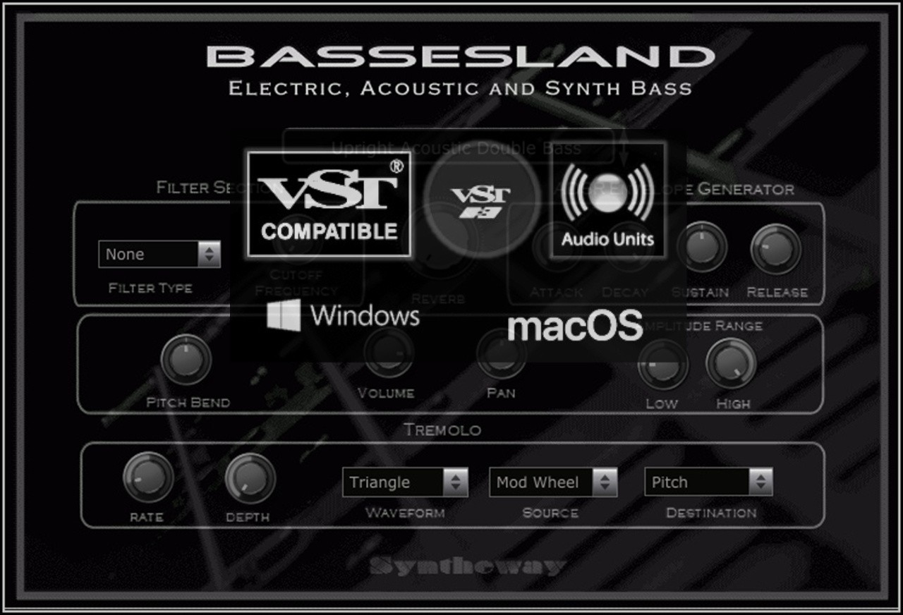 Bassesland Electric, Acoustic and Synth Bass VST VST3 Audio