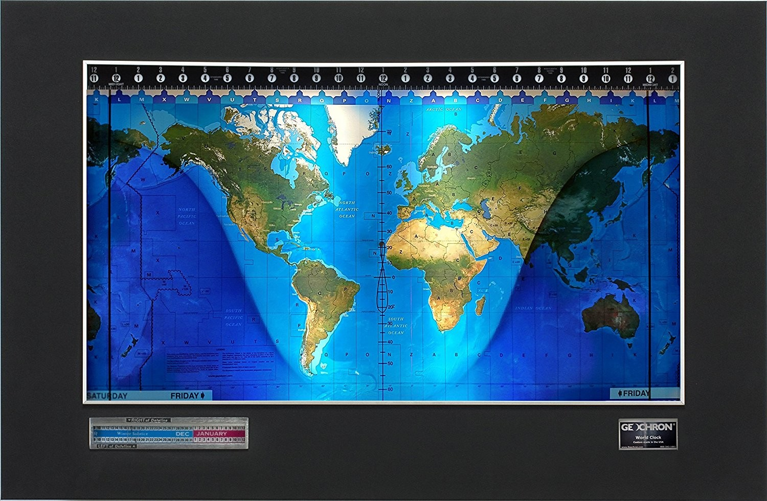 Standard world clock with mapset options more than a moving map or the geochron is more than a moving map or a clock the geochron is a global time indicator with the geochron you can see the entire earth at a glance gumiabroncs Image collections