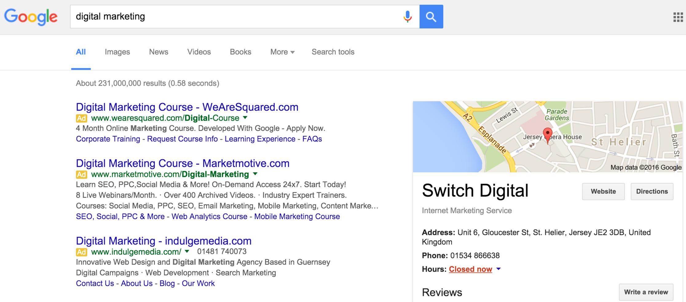 Switch digital marketing agency on google.je