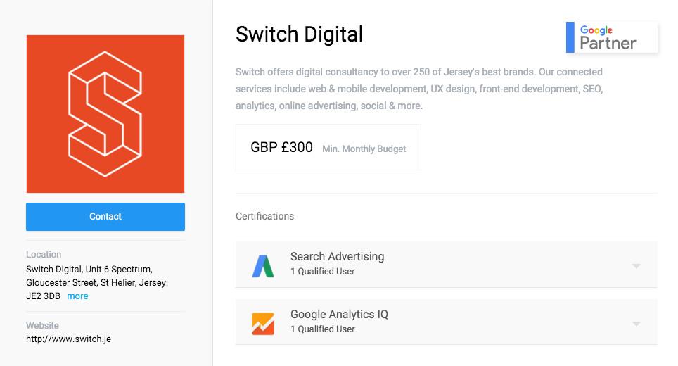 Switch Digital Marketing Agency Google Partner Profile