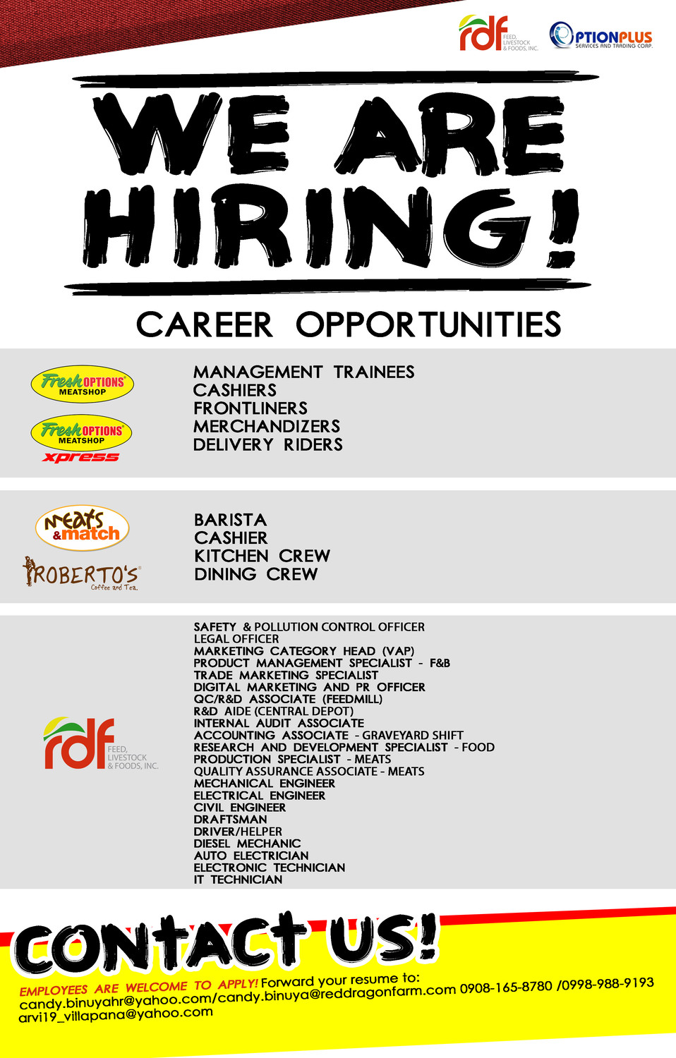 Please feel free to send your resume | Arvi Clandestine Villapana ...