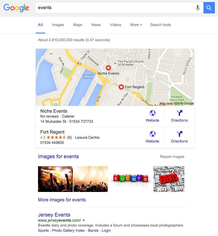 events on google.je