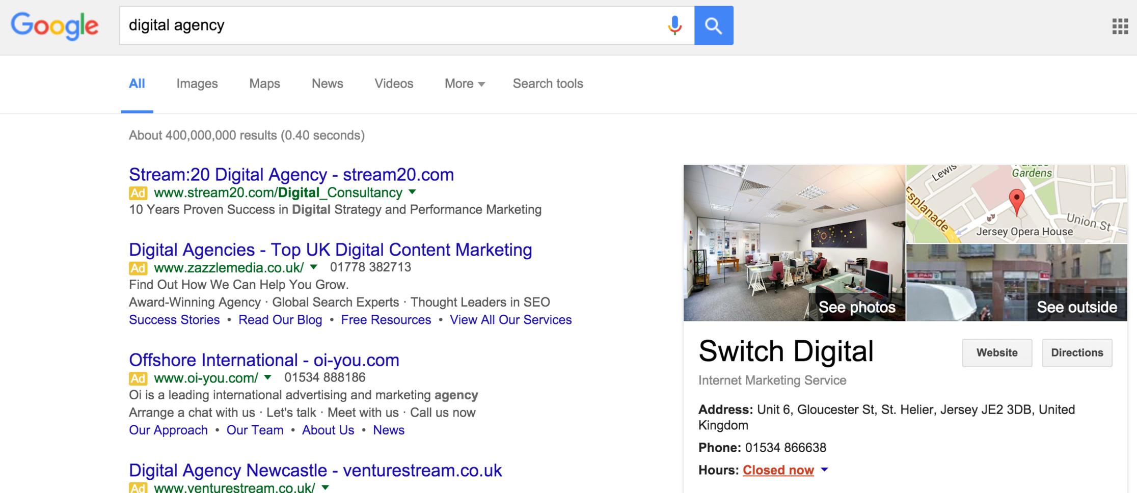 Switch digital agency on google.je