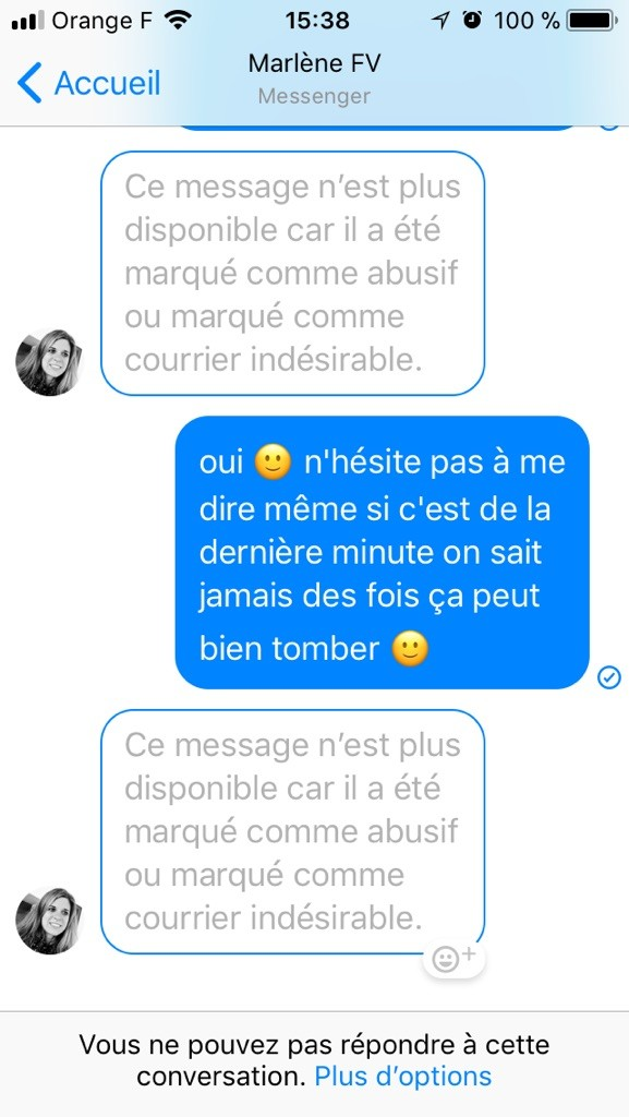 anciens messages inaccessibles