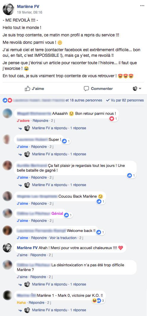 message de retour dans mon groupe Facebook