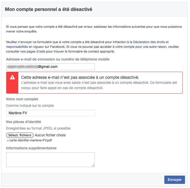 Essai par formulaire de demande de réactivation Facebook