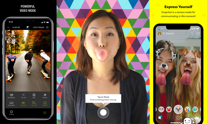 ProCamera, Boomerang, Snapchat