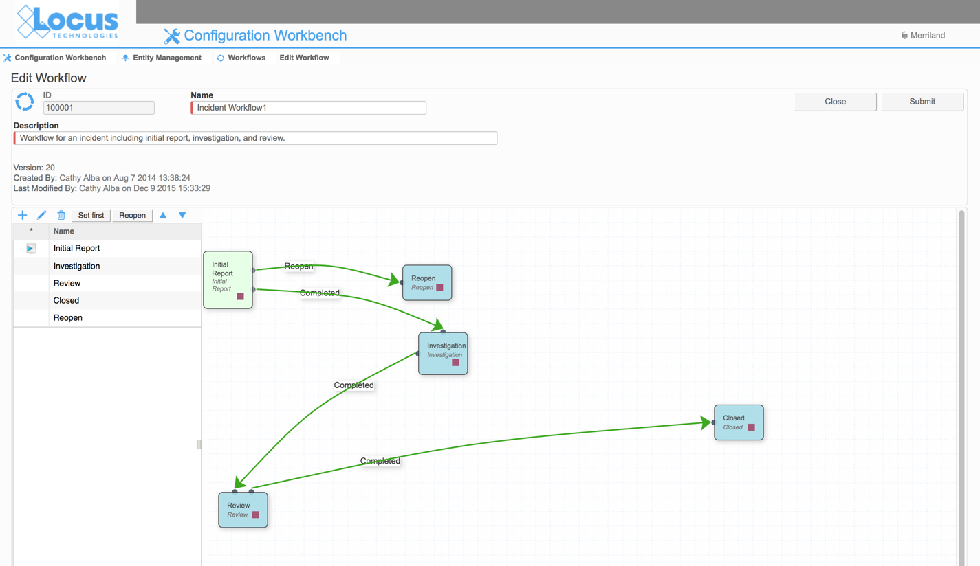 Locus Platform EHS configuration workbench custom workflows
