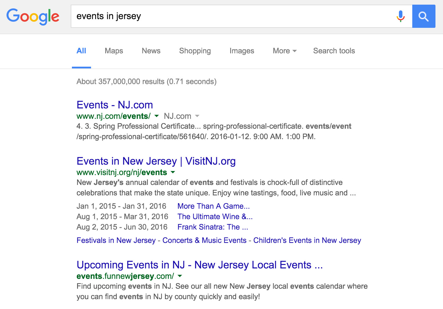 events in jersey on google.com, Non Localised Results