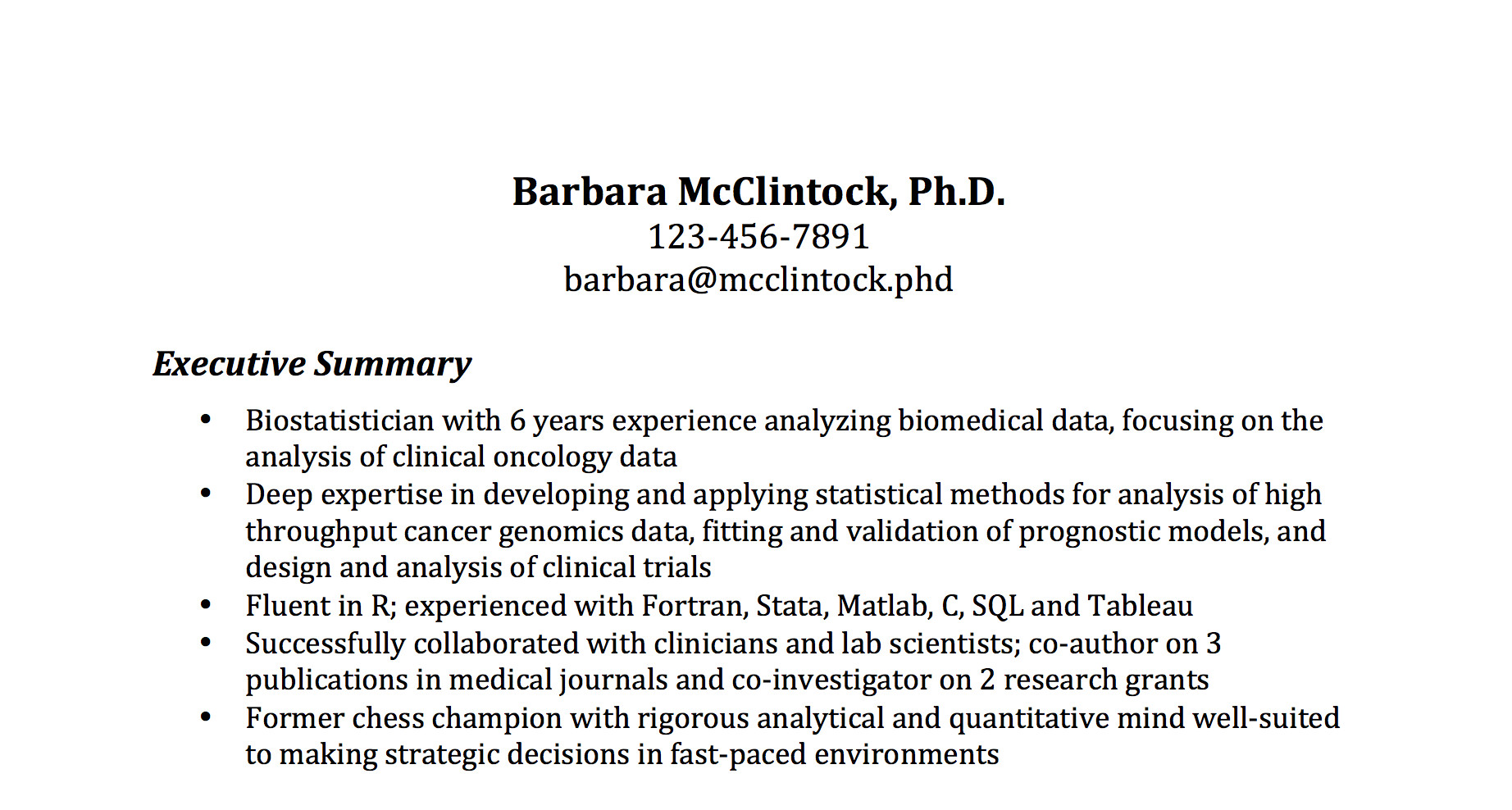The most important thing on your resume the executive summary biostatistician thecheapjerseys Choice Image