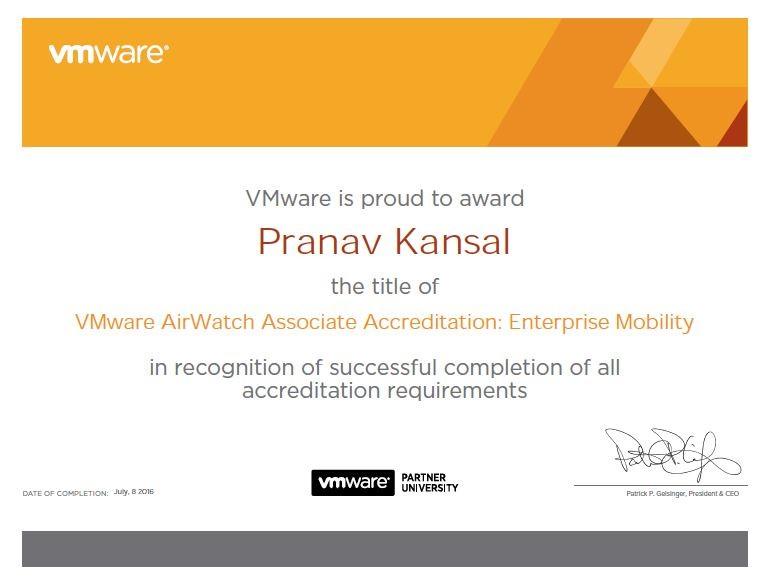 Airwatch Certification - Done :) | Pranav Kansal | Pulse | LinkedIn