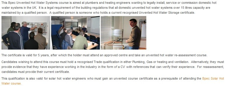 Bpec Unvented Hot Water - 1 Day Course | Vincent Haig-Smith (SAM ...