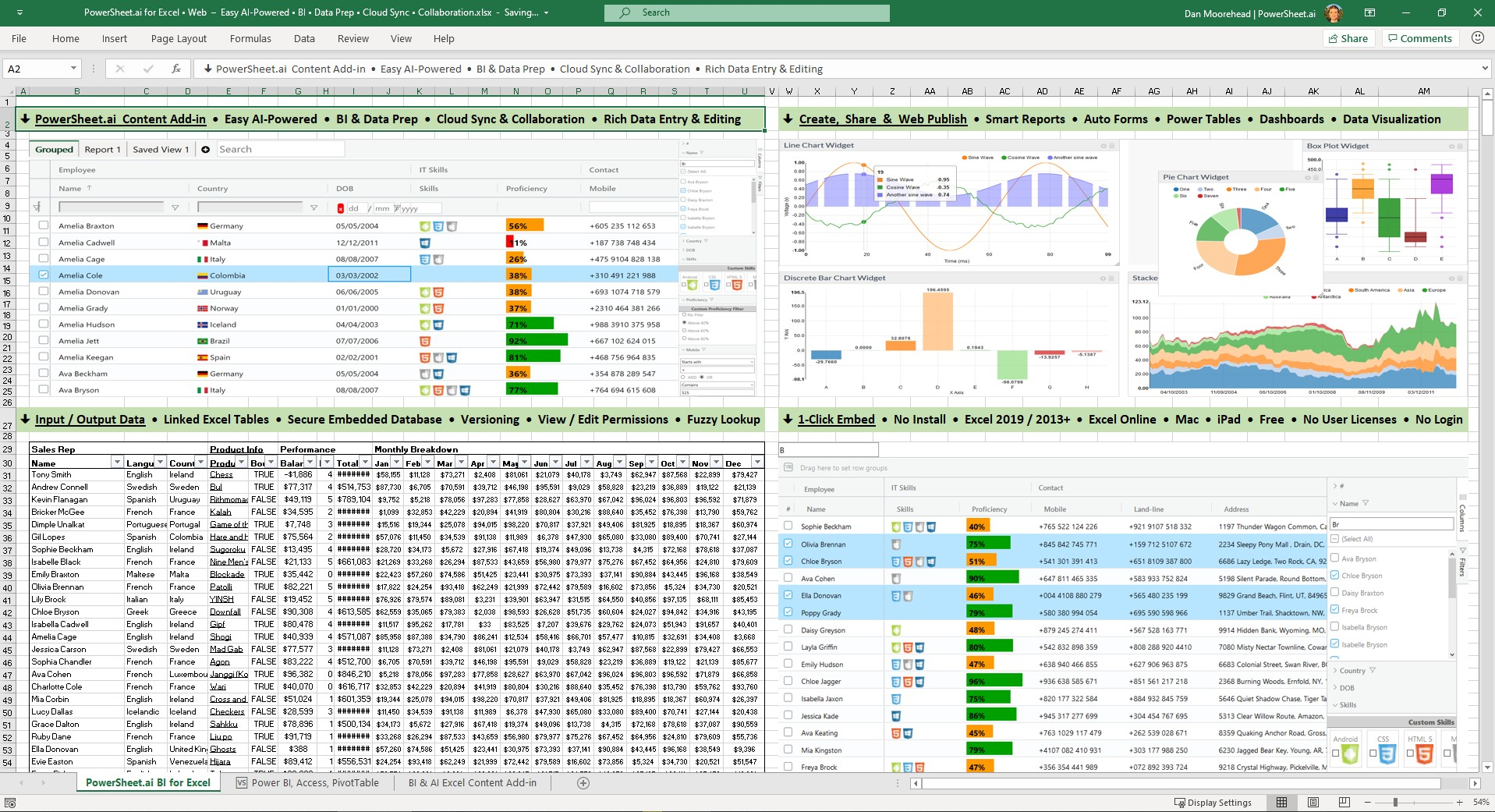 Power Sheet BI for Excel & Web – Free Easy Dashboards, AI Data Tools
