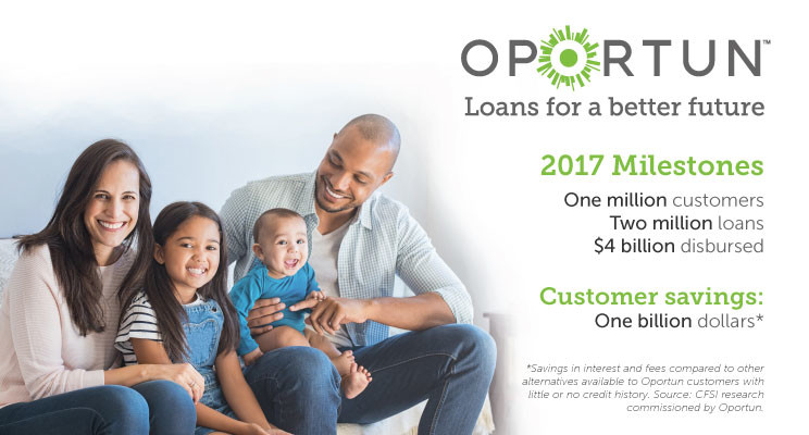 Smiling family enjoying each other and that Oportun has helped 1 million customers access credit, and the've saved more than 1 billion dollars.