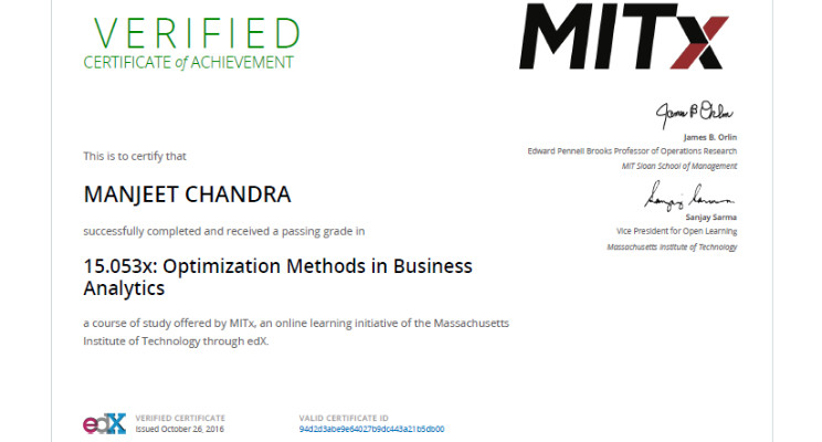 edX Verified Certificate for Optimization Methods in Business ...