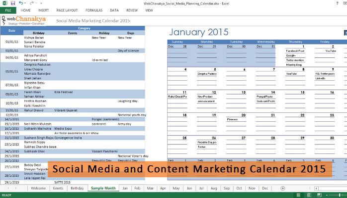Download Free Social Media Management Calendar Template For 2015