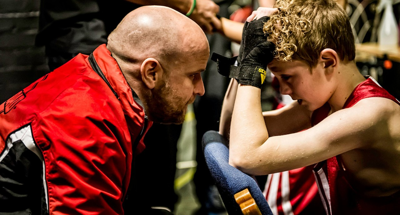 Johnny Woods coaching one of his boxing pupils
