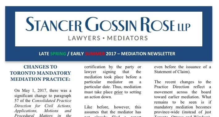 Recent Changes to Toronto Mandatory Mediation Practice Reflect an ...